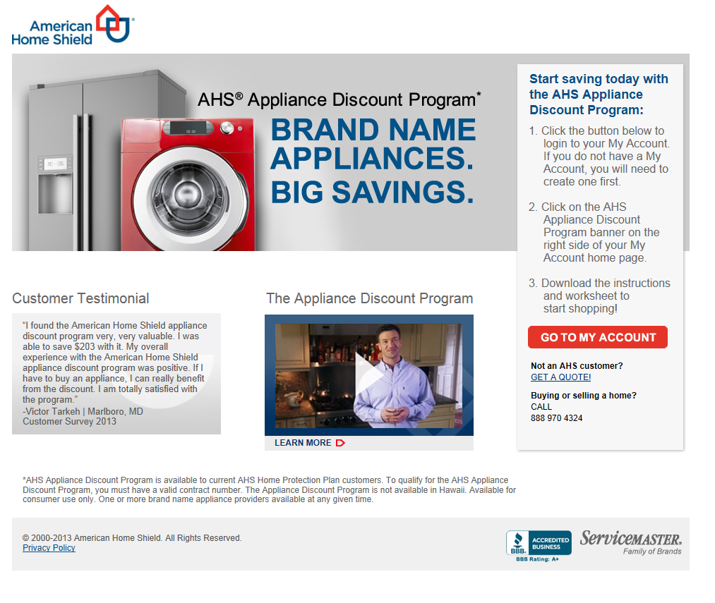 ahslink american home shield offers appliance discount program genbluenews,American Home Shield Protection Plan